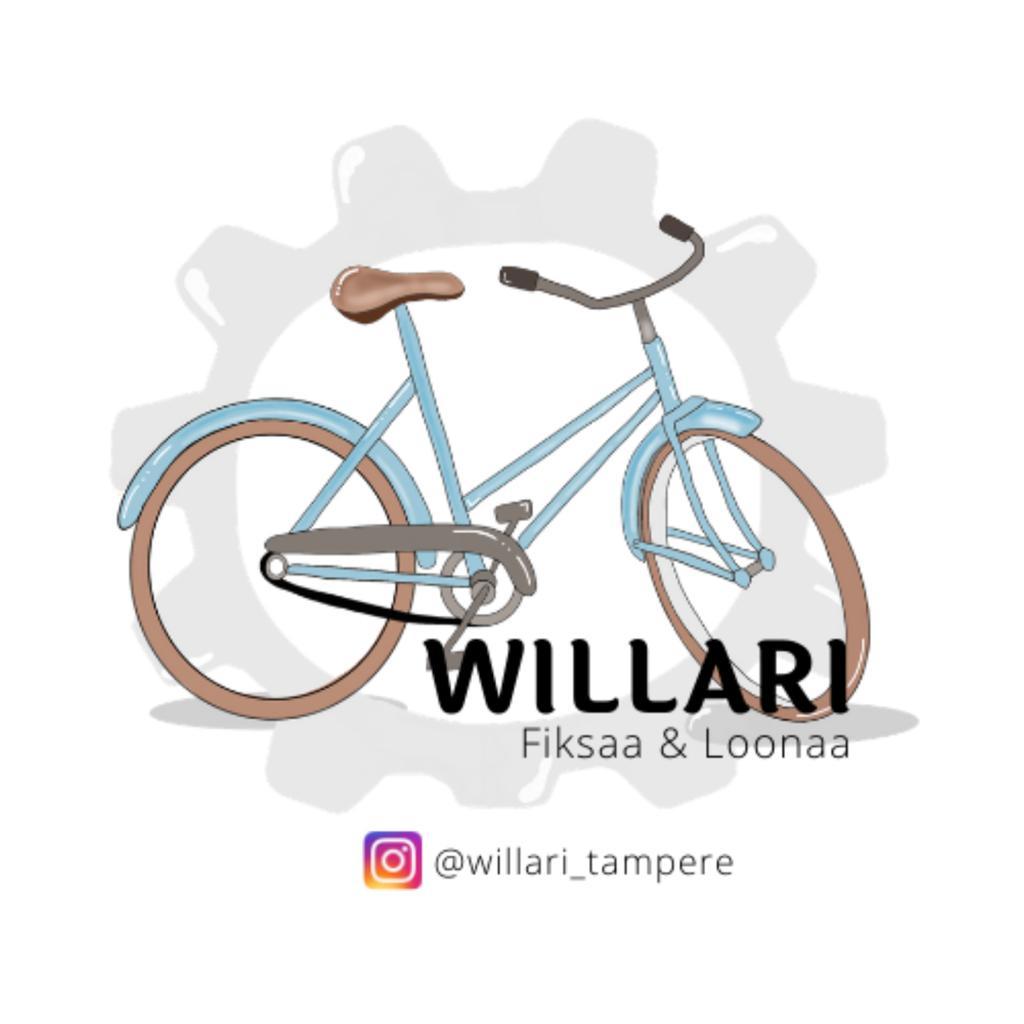 Piirroskuva vanhasta polkupyörästä, jonka edessä teksti Willari